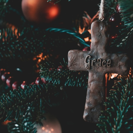 Christmas cross ornament